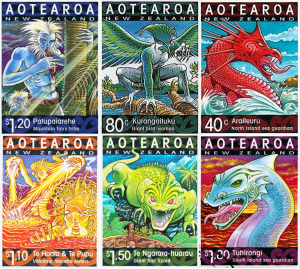 New Zealand stamps featuring mythic creatures
